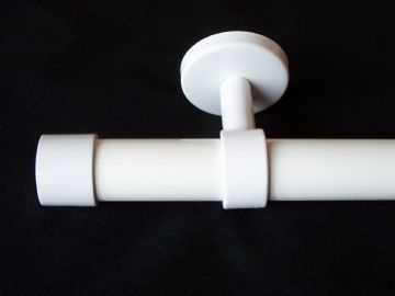 28mm Gloss White Ceiling Hung Eyelet Curtain Pole with End Cap Finials 1.2m 1.5m 2.4m 3m